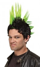 Punk Rocker Wig Adult Mohawk Spike Costume Accessory Green_thumb.jpg