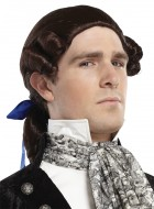 1800s Historic Ponytail Bow Wig Costume Accessory Brown_thumb.jpg