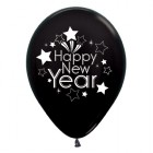 Happy New Year Black Metallic 30cm Latex Balloons Pack of 6_thumb.jpg