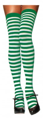 White Green Thigh High Striped Adult Stockings_thumb.jpg