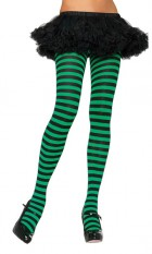 Striped Tights St Paddy's Day Costume Stockings Black & Green Adult Size_thumb.jpg