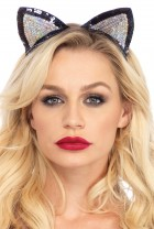 Cat Ears Silver Black Sequin Adult Costume Accessory_thumb.jpg