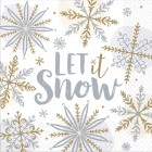 Sparkling Snowflakes Silver White 2 Ply Luncheon Napkins Pack of 6