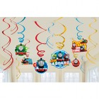 Thomas the Tank Engine All Aboard Hanging Swirl Decorations Value Pack of 12