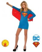 Supergirl Dress With Wings Adult Costume