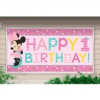 Minnie Mouse Fun to Be One Happy 1st Birthday Plastic Banner