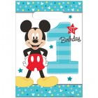 Mickey Mouse Fun to Be One 1st Birthday Plastic Loot Bags Pack of 8