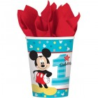 Mickey Mouse Fun to Be One 1st Birthday Paper Cups 266ml Pack of 8