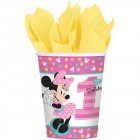 Minnie Mouse Fun to Be One 1st Birthday Paper Cups 266ml Pack of 8
