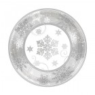 Sparkling Snowflakes Silver White Paper Dinner Plates Pack of 8