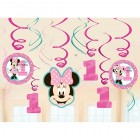 Minnie Mouse Fun to Be One 1st Birthday Cardboard Hanging Swirls Pack of 12
