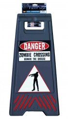 Beware of Zombie Sign and Tape Halloween Props