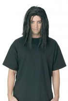 Sinister Young Man Long Straight Hair Wig Black