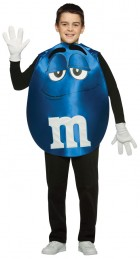 Blue M&M's Chocolate Character Poncho Teen Costume