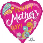 Happy Mother's Day 45cm Paisley Swirls Foil Balloon