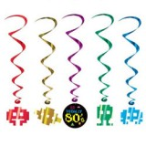 Totally 80's Hanging Whirl Decorations Pack of 5