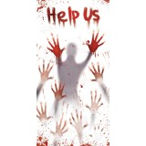 "Zombie Apocalypse Bloody ""Help Us"" Halloween Door Cover Decoration"