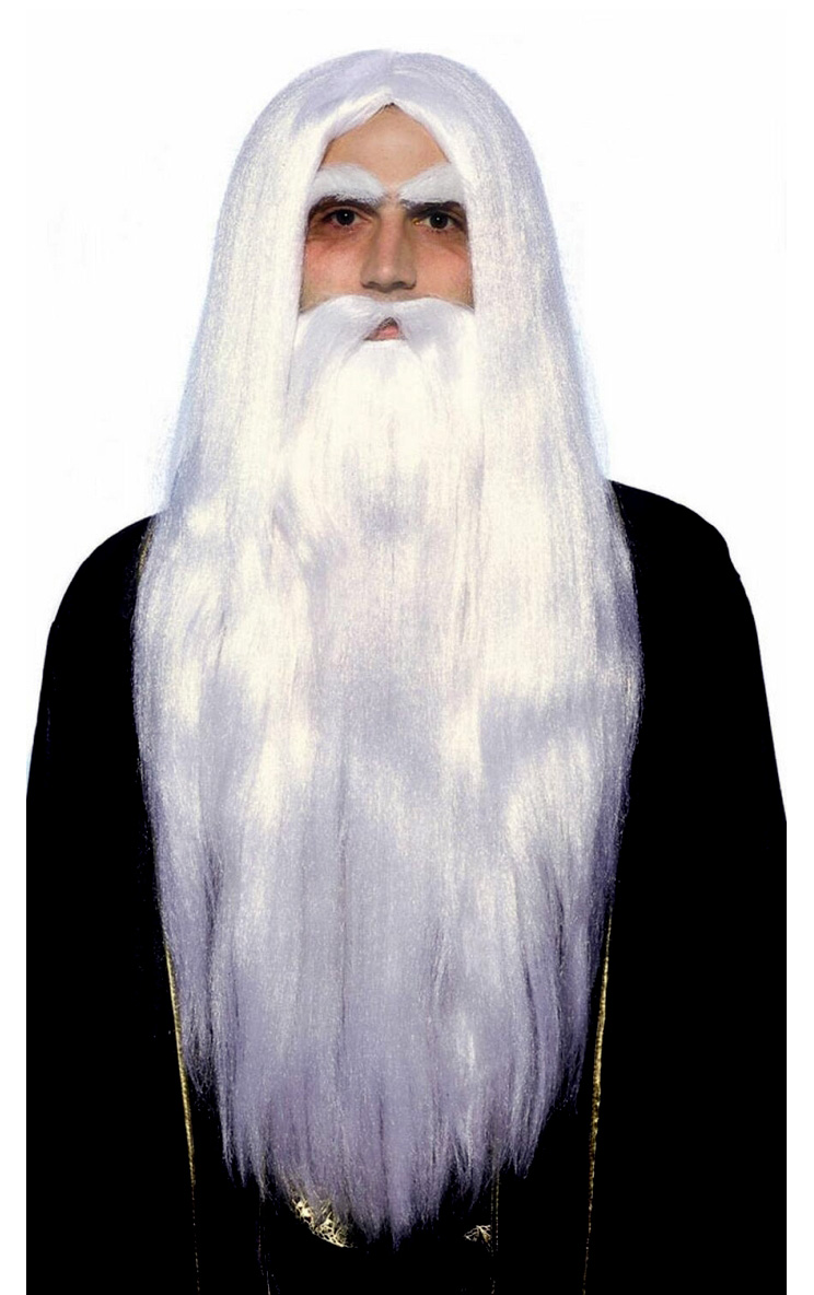 Mens Long White Wizard Old Man God Merlin Wig & Beard Fancy ...