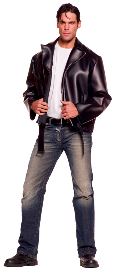 Image is loading Greaser-1950s-Black-Zipper-Leather-look-Jacket-Mens