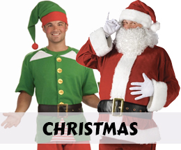 Santa suits and elf costumes and accessories.